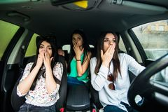 Free Car Crash. Three Girls Tried To Avoid The Car Accident. Royalty Free Stock Photo - 112705665