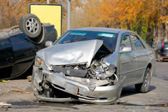 Car crash, Two broken cars royalty free stock photography