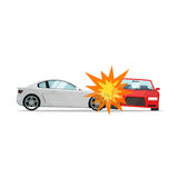 Car crash vector illustration, two automobiles collision, auto accident scene. Car crash vector illustration flat cartoon style, two automobiles collision, auto royalty free illustration
