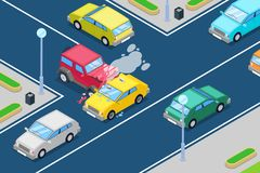 Car crash, vector isometric 3D illustration. Street accident at intersection of the main and secondary roads. Safety street traffic and road insurance concept Royalty Free Stock Photos