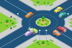 Car crash, vector isometric 3D illustration. Street accident at roundabout junction road. Safety street traffic and insurance concept vector illustration