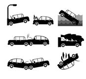 Car crash vector set. Insurance cases car crash Royalty Free Stock Photo