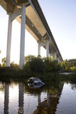 Car Crash on Water Pond, Highway Bridge Stock Images