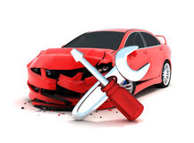 Car crash. On white background (done in 3d Royalty Free Stock Photos