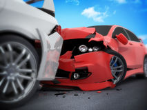 Car crash. On white background (done in 3d Stock Image
