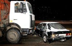 Car crash in winter. Car crash in the twilight in a sity street in winter Stock Photos