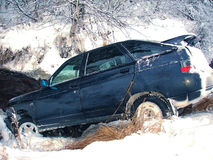 Car crash winter. Flew off the road into the Creek. Winter road in Russia Royalty Free Stock Images