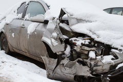 Car crash on winter road Stock Image