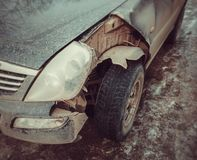 Car crashed detail. Front broken part automobile royalty free stock images
