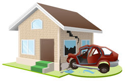 Car crashed into house. Home insurance Royalty Free Stock Photo