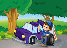 A car crashed near the big trees Stock Images