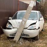 Car crashed into a pole. Car accident, the car crashed into a pole Royalty Free Stock Image