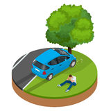 Car crashed into tree. Car crash collision traffic insurance. Car crash safety automobile emergency disaster. Auto accident involving car crash city street royalty free illustration