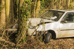 Car crashed into a tree Stock Images