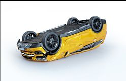 Car crashed. Yellow car upsde down heavily damaged all around royalty free stock photography