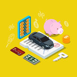Car credit loan financing plan flat 3d vector isometric. Flat 3d isometry isometric car credit loan financing plan icon concept web app infographics vector Stock Photography