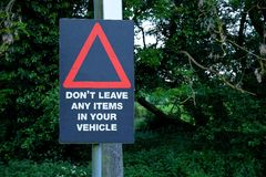 Car Crime Warning Sign Royalty Free Stock Images