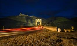 Car crossing Alcantara bridge Royalty Free Stock Photo