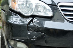 Car crush accident. Damaged car by crush accident royalty free stock images