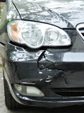 Car crush accident. Damaged car by crush accident stock image