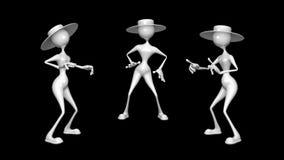 Car?cter de la diversi?n de la mujer 3D 2 lazos video - en fondo y en Alpha Channel ilustración del vector