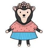 Car?cter infantil del mono femenino lindo ilustración del vector