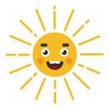 Car?cter lindo de Sun cara del carácter con los rayos ilustración del vector