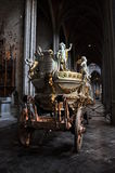 Car d'Or - gilded dray. Gilded dray of Saint Waltrude which is used at Doudou celebration in Belgium Stock Image