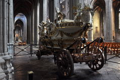 Car d'Or - gilded dray. Gilded dray of Saint Waltrude which is used at Doudou celebration in Belgium Stock Photos