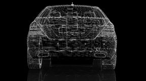Car 3D model. Body structure, wire model Royalty Free Stock Photos