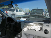 Car damaged from auto collision Stock Images
