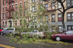 Car damaged by Hurricane Sandy. Aftermath of Hurricane Sandy, New York City Stock Photo