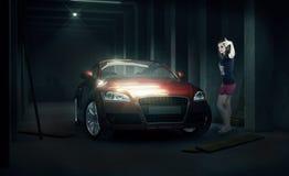 Car with a dark girl Royalty Free Stock Photos