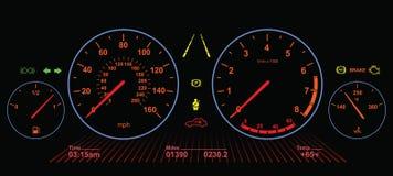 Car Dasboard   Night Screen Stock Photography