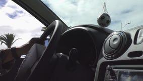 Car dash board and football stock video
