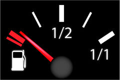 Car dash board petrol meter, fuel gauge Stock Image