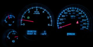 Car Dash Instruments on Black. Vehicle Dashboard Closeup Royalty Free Stock Photo