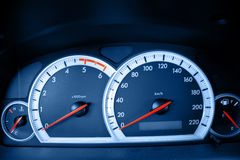 Car dashboard. Blue and red colors Royalty Free Stock Photo