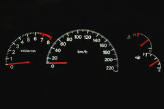 Car dashboard. With speedometer, temperature and gas gauge Royalty Free Stock Photo