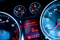 Car dashboard. Close up of car dashboard on sports car royalty free stock photo