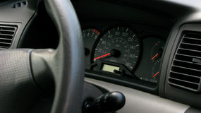 Car dashboard. Detailed view of a modern car's dashboard royalty free stock photos