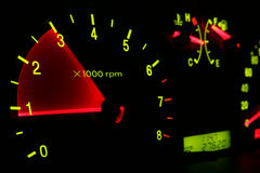 Car dashboard. Car tachometer isolated on black Royalty Free Stock Image