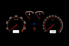 Car dashboard, automobile control illuminated panel. Car dashboard, illuminated panel, speed display, vector illustration Royalty Free Stock Photography