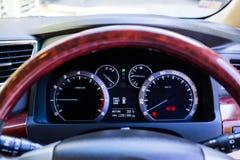 Car dashboard. Close up image of illuminated Stock Photos