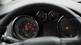 Car dashboard close-up. Car dashboard while turning close-up stock video footage