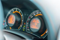 Car dashboard closeup in blue Stock Photos