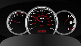 Car dashboard computer, speedometer, tachometer and fuel usage. On board animation vector illustration