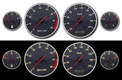 Car dashboard. With controler of fuel, rotation, speed and temperature Stock Photos