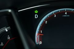 Car dashboard with eco signal enable and have mile meter with ne. On white light are background. image for car,vehicle,transport and interface concept Royalty Free Stock Photos