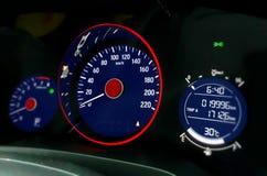 Car dashboard focus on speedometer panel Stock Photo